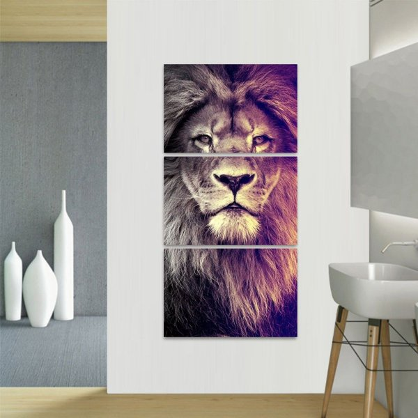Quadro decorativo Leão The King Vertical Conjunto 3 Peças