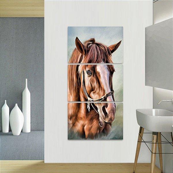 Quadro Cavalo Artístico Conjunto 3 Peças Vertical