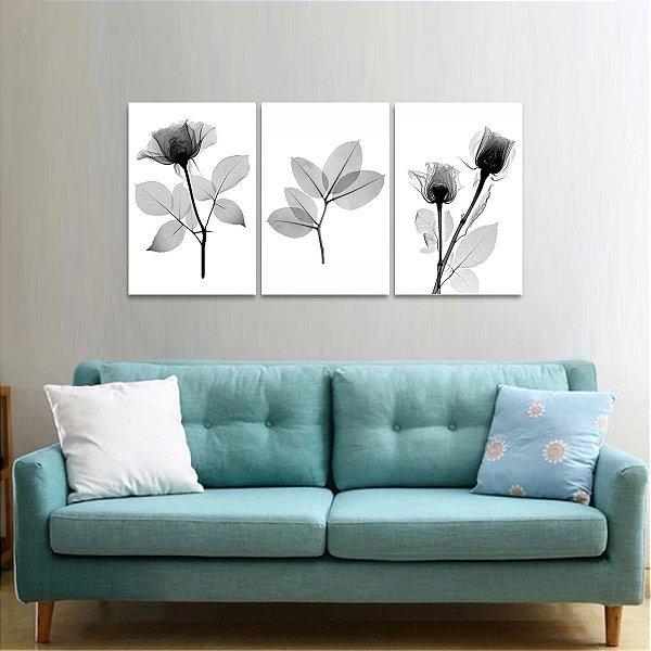 Trio de Quadros decorativo Flores Flowers Raio X Black And White