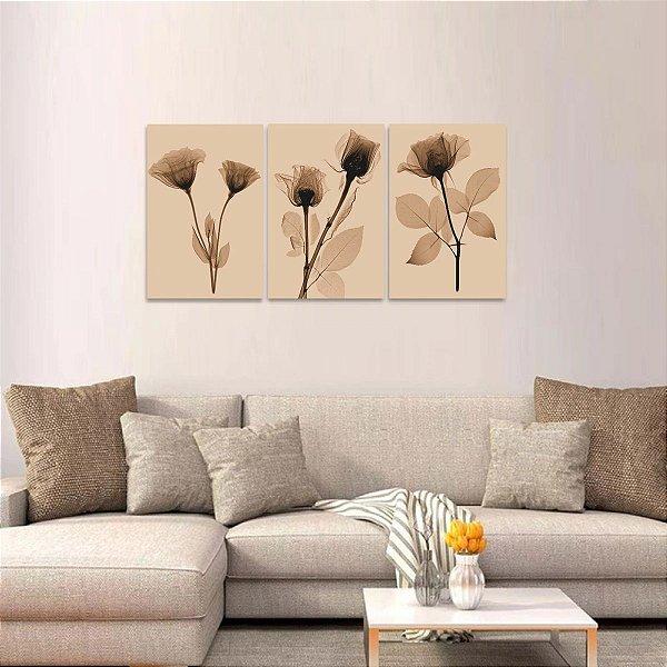 Quadro Flores Raio X Abstrato Sépia Jogo 3 Peças