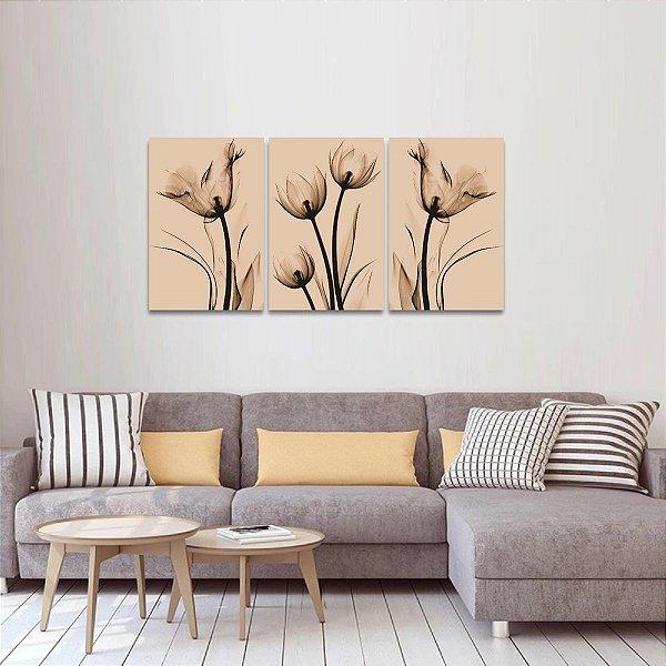 Quadro Flores Raio X Arte Sépia Kit 3 Peças