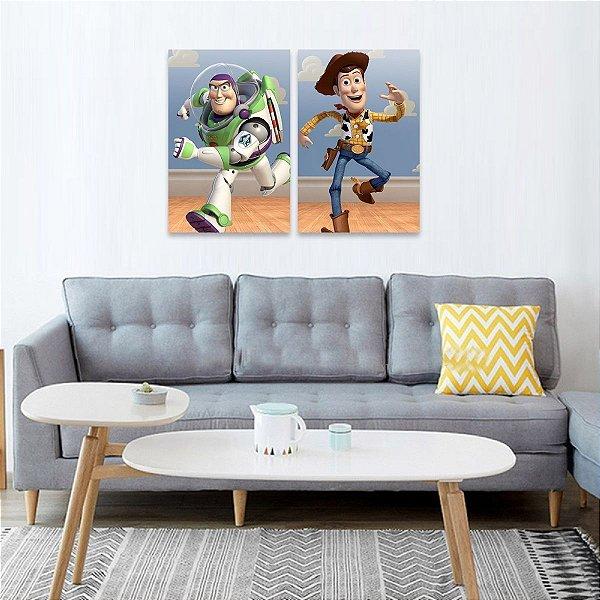 Kit 2 Quadros Toy Story Woody e Buzz Lightyear