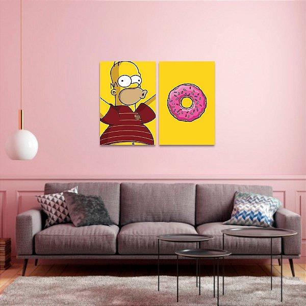 Quadros decorativo Kit 2 Peças Homer e Rosquinha Os Simpsons