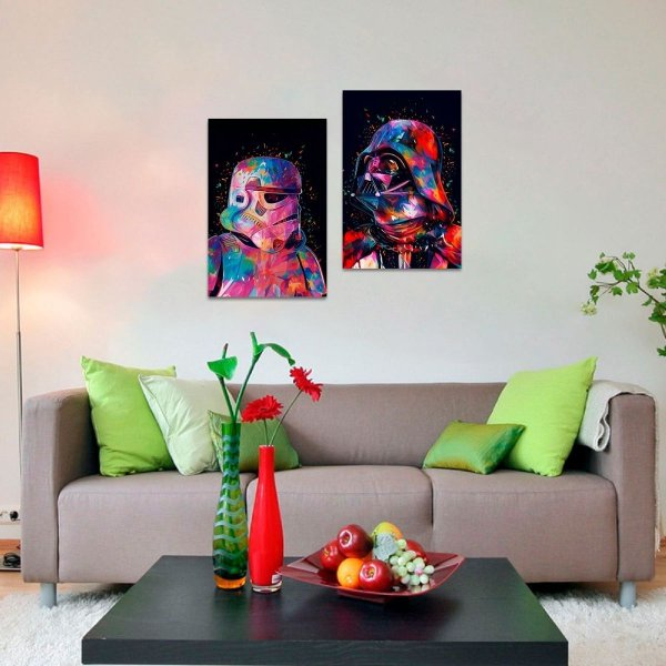 Kit 2 Quadros decorativos de Star Wars Filmes Arte
