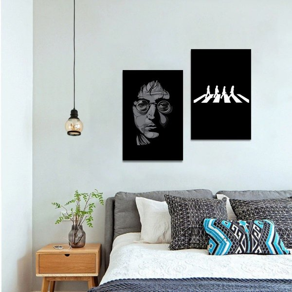 Kit 2 Quadros decorativo John Lennon Beatles
