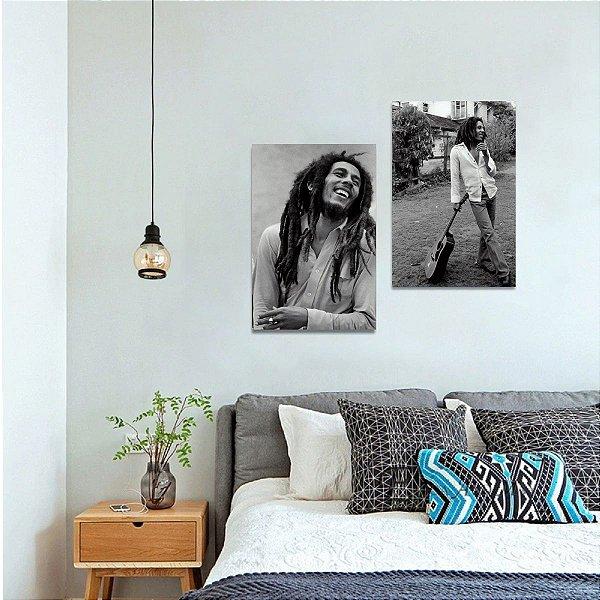 Kit 2 Quadros decorativos de Bob Marley em Preto e Branco