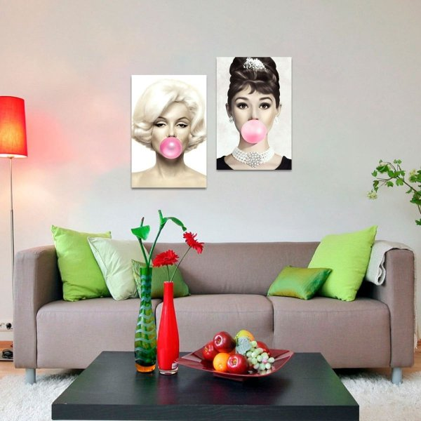 Kit 2 Quadros Marilyn Monroe e  Audrey Hepburn Chiclete Rosa