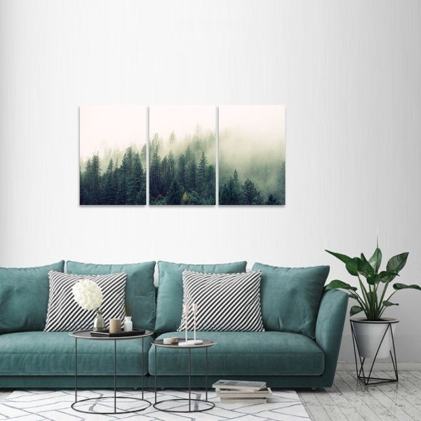 Quadro O Nevoeiro Floresta Árvores Paisagem