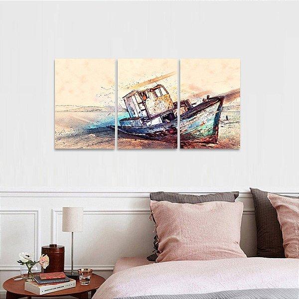 Conjunto 3 Peças O Barco Abstrato Moderno Artístico