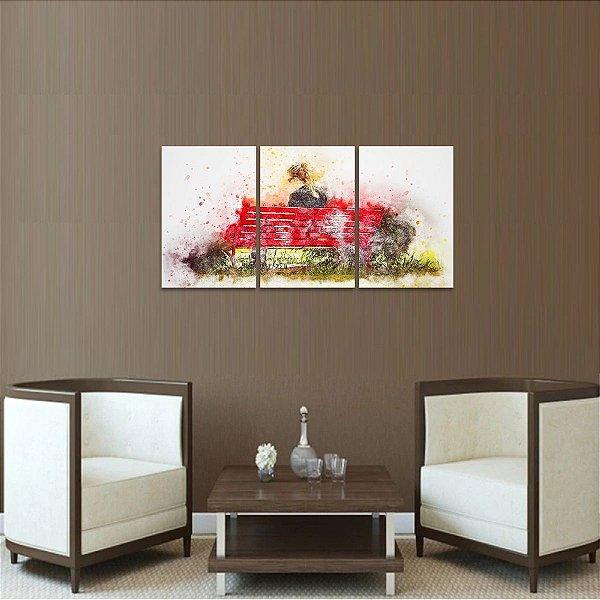 Quadro decorativo A Mulher do Banco Vermelho Conjunto 3 Telas