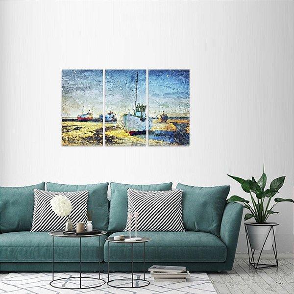 Quadro decorativo Barcos Mar Navegação Artístico Mosaico