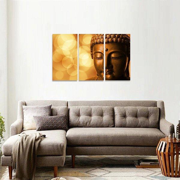 Quadro Mosaico Budismo Buda em 3 Peças