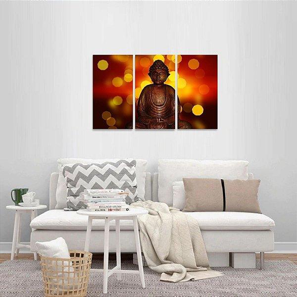 Quadro Buda Lights Religião Conjunto 3 Telas