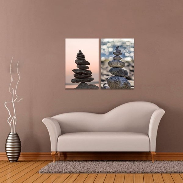 Kit 2 Quadros de Pedras do Equilibrio Vida Zen