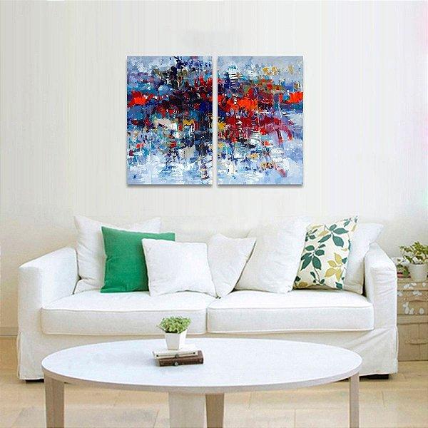 Quadro Moderno Abstrato Jogo em 2 Peças decorativo