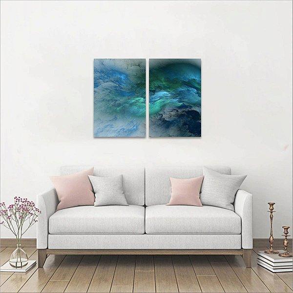 Duo Quadro Nuvens Abstratas Azuis 2 Peças