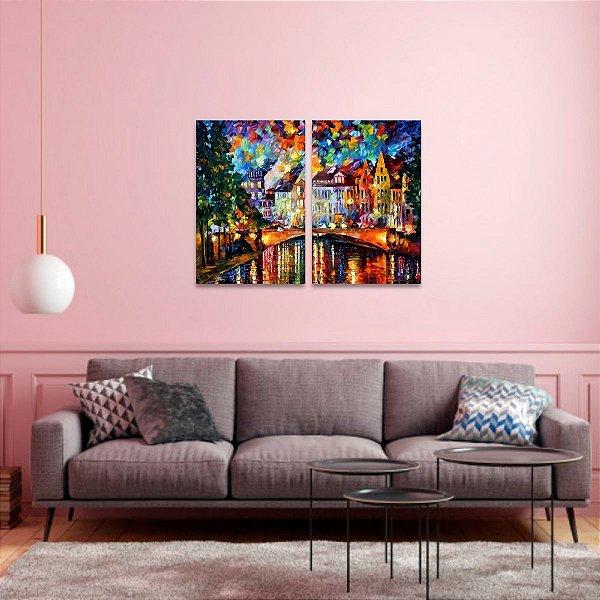 Quadro O Céu de Amsterdã Abstrato Arte Jogo em 2 Peças