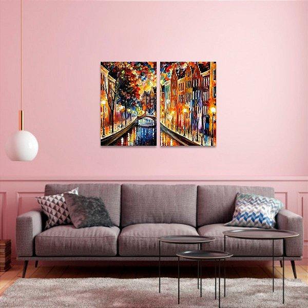 Quadro Artístico Noite de Amsterdã Multicolorido em 2 Peças
