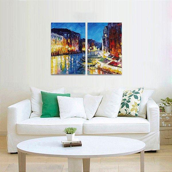 Quadro Veneza Colorida Abstrato Moderno em 2 Peças