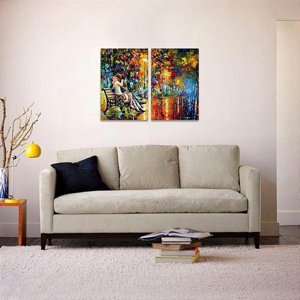 Quadro Abstrato Noite da Paixão Colorido em 2 Peças