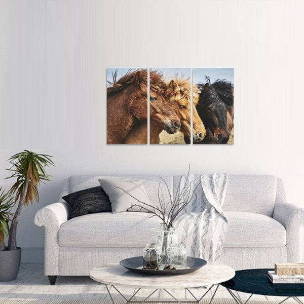Quadro Três Cavalos Artístico Animais decorativo
