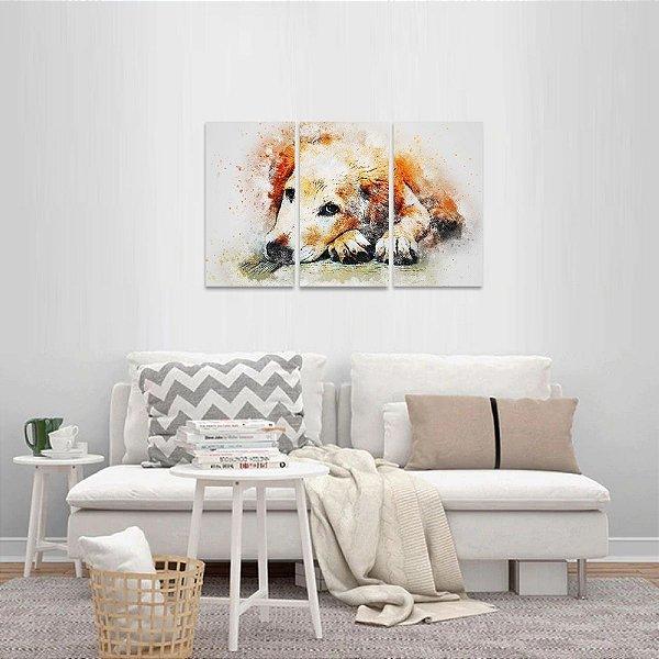 Quadro Dog Artístico Conjunto 3 Peças Cute Cachorro