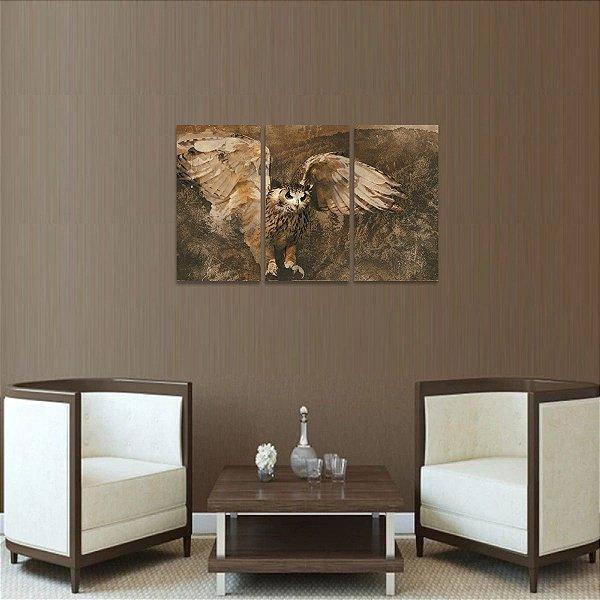 Quadro Coruja Artístico Moderno Conjunto 3 Peças Owl