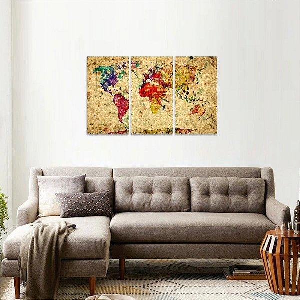 Quadro Mapa Mundi Rústico Vintage Colorido 3 Telas