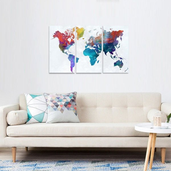 Quadro decorativo Mapa Mundi Multicolorido Mosaico