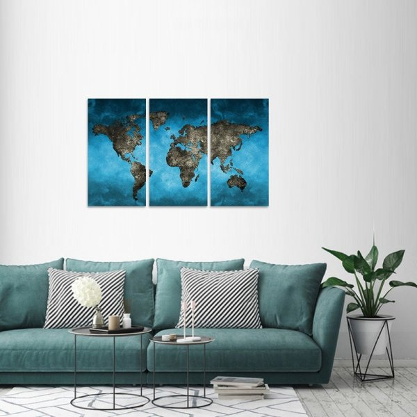 Quadro decorativo Mapa Mundi Moderno em 3 Telas Estilo Azul