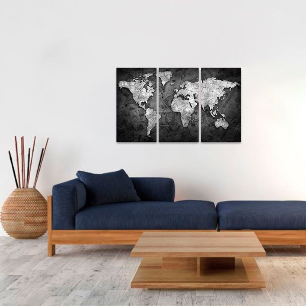 Quadro Mapa Mundi Money Arte Dinheiro Mosaico 3 Telas