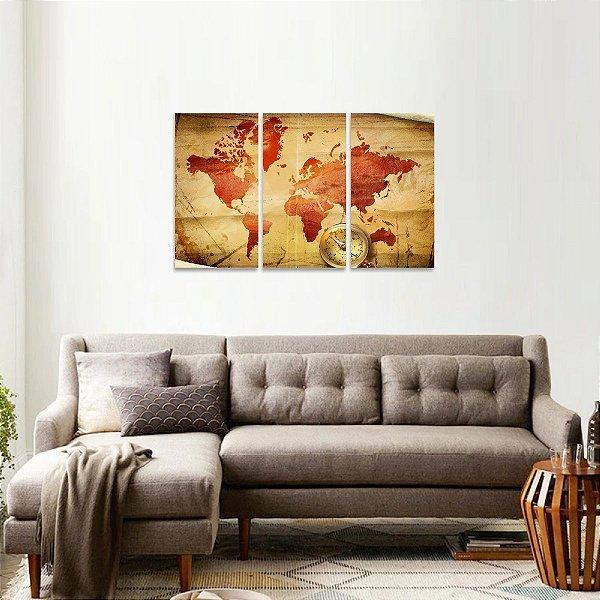 Quadro decorativo Mapa Mundi e Bússola Estilo Vintage