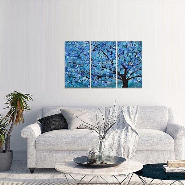 Quadro Árvore Abstrata Arte Azul Mosaico 3 Telas
