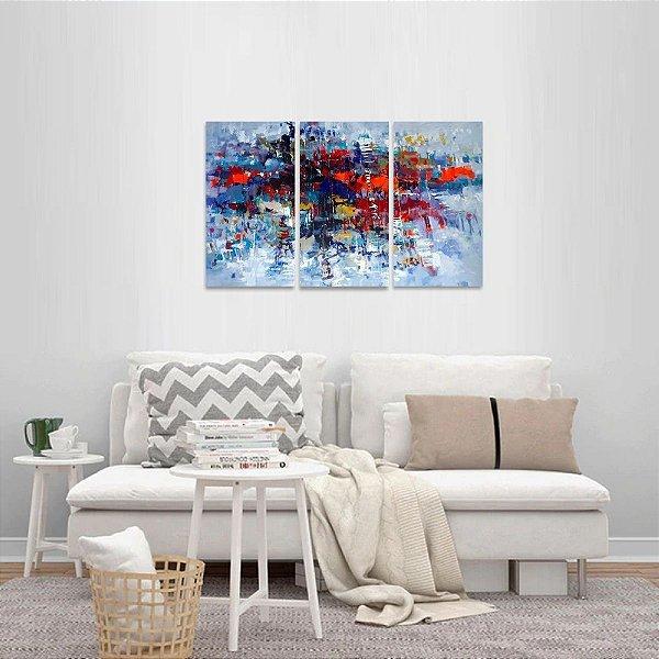 Quadro Moderno Abstrato Jogo 3 Peças Artístico
