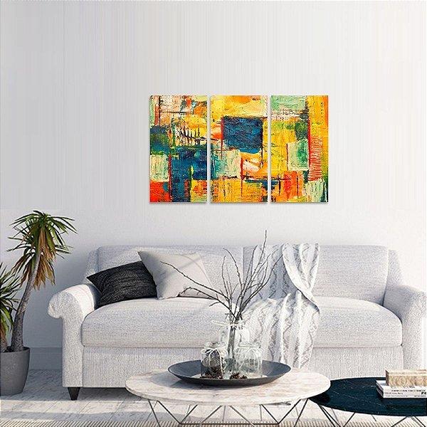 Quadro Abstrato Colorido Artístico Estilo Pintura