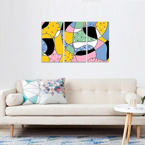 Quadro Abstrato Formas e Figuras Colorido Conjunto 3 Peças