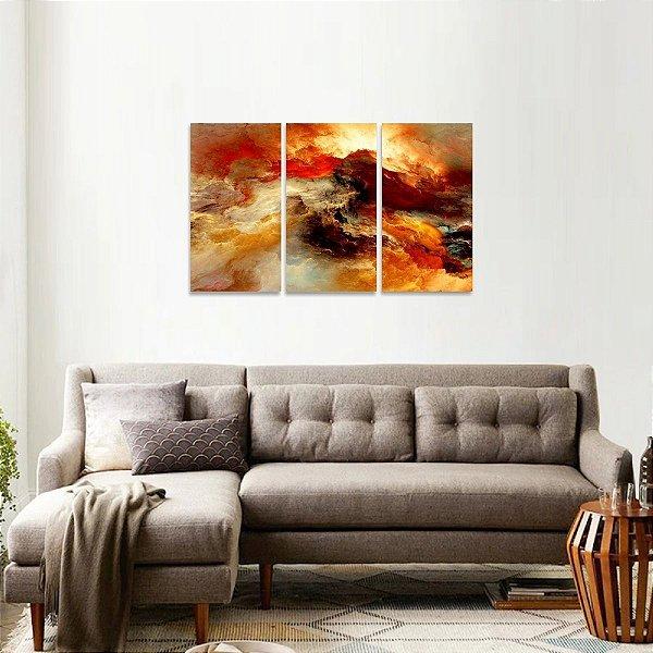Quadro Nuvens Céu Abstrato Conjunto 3 Peças