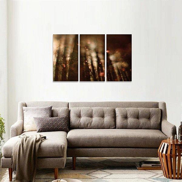 Quadro Floresta Mágica Abstrato Moderno em 3 Peças