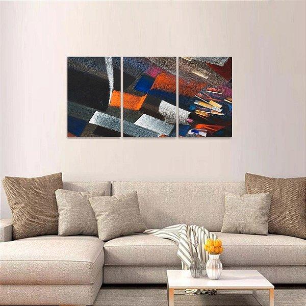Quadro Abstrato Moderno Traços Colors Jogo 3 Peças
