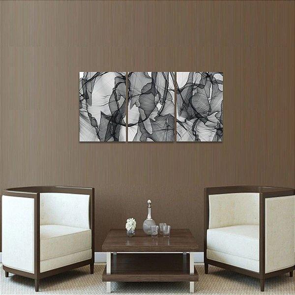 Quadro Abstrato Modern Lines em Preto e Branco