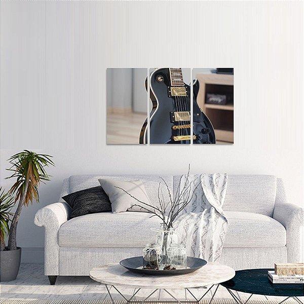 Quadro decorativo Rock Música Guitarra em 3 Peças