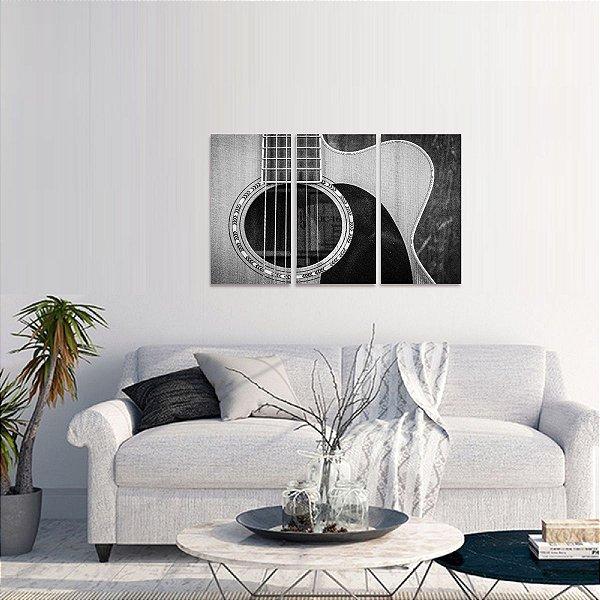 Quadro Violão Música em Preto e Branco Conjunto