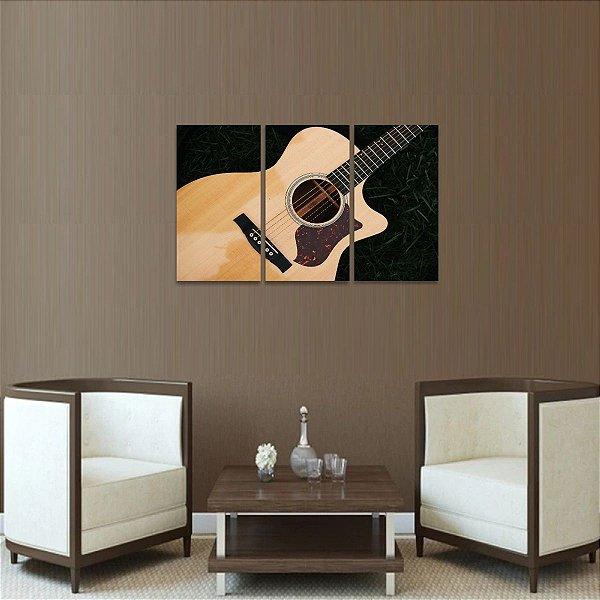 Quadro decorativo Violão Arte da Música em 3 Peças