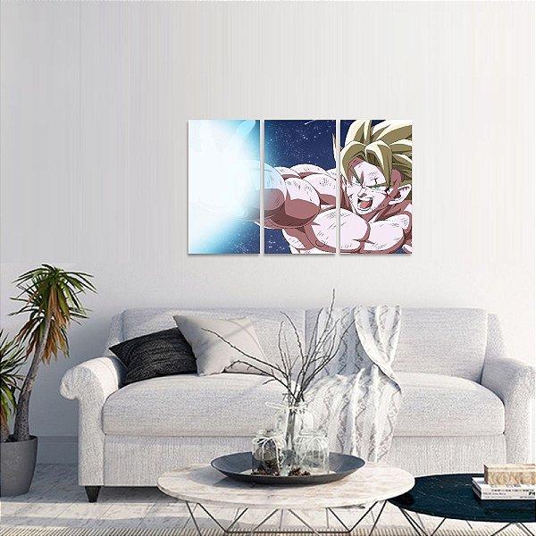 Quadro Goku Kamehameha Animes em 3 Peças