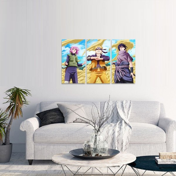 Quadro Mosaico Time 7 Naruto Sasuke e Sakura Jogo 3 Peças
