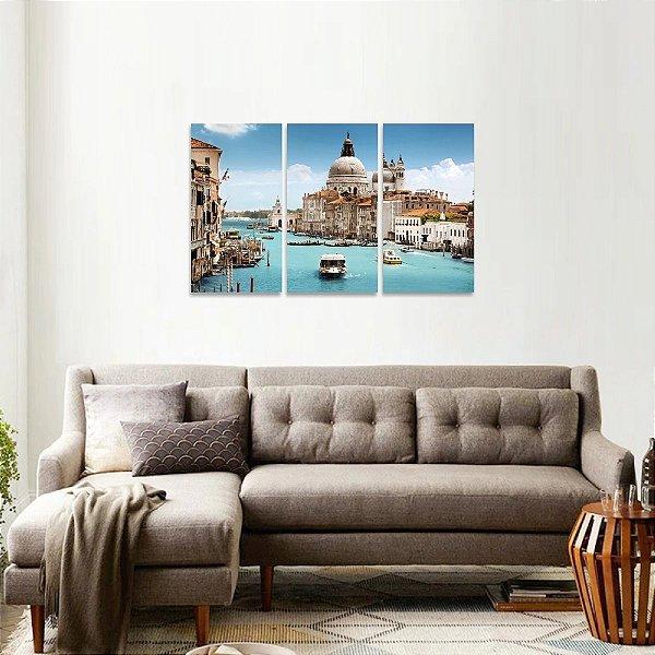 Quadro Paisagem Cidade de Veneza Itália Jogo 3 Peças