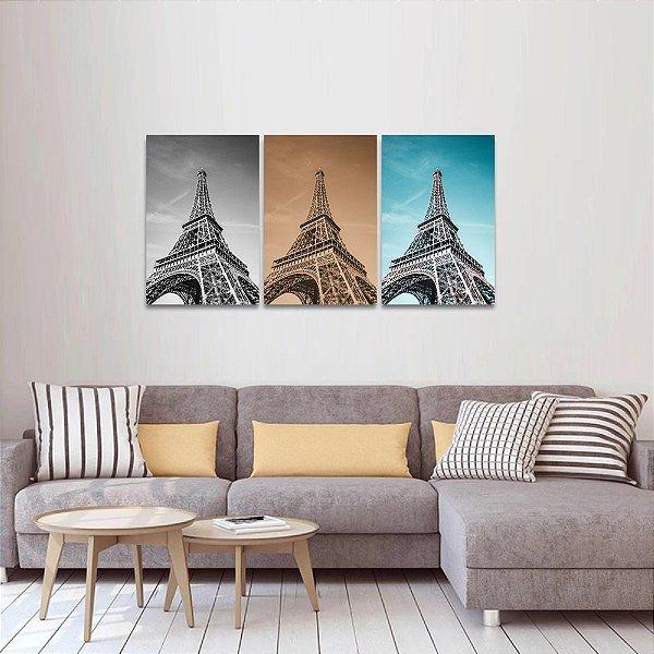 Kit 3 Quadros Versões Torre Eiffel Paris P&B Sépia e Céu decorativo