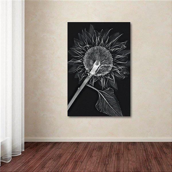 Quadro Flor Abstrata em Preto e Branco Vertical