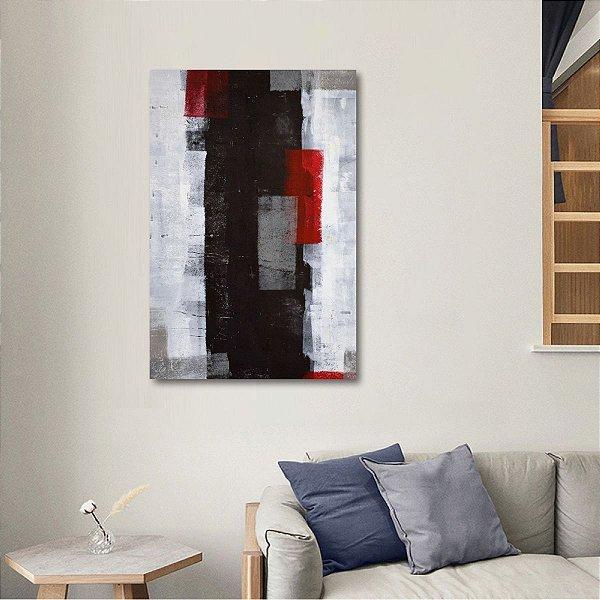 Quadro Abstrato Vertical Arte Estilo Pintura Tons Cinza e Vermelho