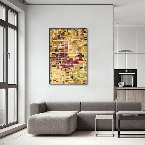 Quadro Abstrato Moderno Vertical Estilo Vitral